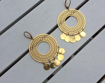 Gold Hoop Earrings - Boho Hoop Earrings, Boho Jewellery, Gold Hoops, Beach Jewellery, Circle Earrings, Coin Earrings, Large Earrings