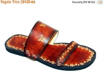 ON SALE Women Sandals, Handmade Leather Slides, Boho Hippie Sandals, Butterfy Flowers Sandals, Hand Painted - PARADISE