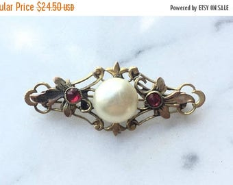 SUMMER SALE Beautiful Ornate Art Deco Gold Tone Button Pearl and Red Glass Brooch