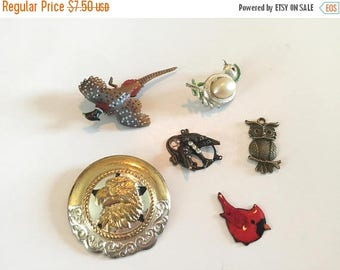 SUMMER SALE Destash  Craft Lot of Vintage Salvaged   Bird  Figural Jewelry Pieces