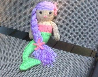 Knit mermaid amigurumi doll, handmade,READY to SHIP,mermaid child's toy,mermaid stuffed doll,mermaid party present,braided hair mermaid