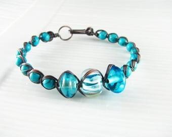Wire Wrap Bracelet Turquoise Bracelet Copper Wire Wrap Jewelry Egyptian Bracelet Turquoise Jewelry Copper Wire Bracelet