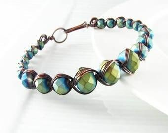 Wire Wrap Bracelet Copper Wire Wrap Jewelry Egyptian Bracelet Copper Bracelet Green and Blue copper bangle
