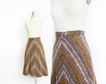 Vintage 1970s Skirt - Chevron Stripe Wool Boucle A-Line Day Skirt 70s - Medium