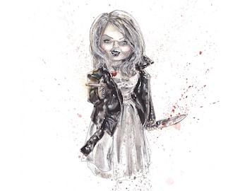 Tiffany Bride of Chucky Signed 8.5x11 Art Print