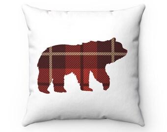 Plaid Bear Pillow Plaid Pillows Cozy Pillows Cabin Pillows Woodland Decor Bear Pillow Christmas Pillow