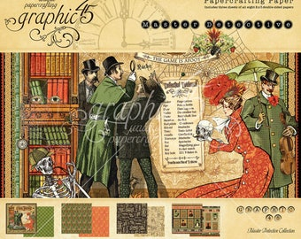 """Shipping - Graphic 45 """"Master Detective"""" 8x8 Paper Pad"""