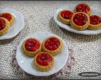 Dollhouse miniature cherry tarts for your 12th scale patisserie or bakery, handmade dollhouse food