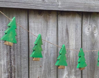 Wooden christmas trees garland for mantel