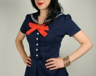 ON SALE Vintage 60s 2 piece sailor outfit