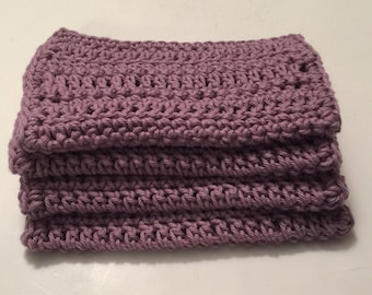 4 Large 100% cotton Dish Rags/ dish cloths/ wash cloths Lilac Mist in color