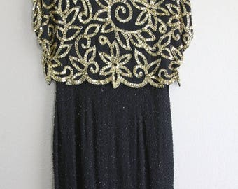 SALE gorgeous black and gold vintage beaded dress-DEADSTOCK with 350 price tag- SALE