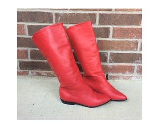 vintage 80s RED LEATHER slouchy Cuff BOOTS pirate 6.5 boho shoes flats retro