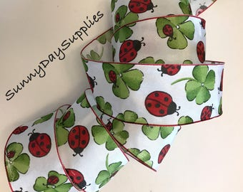 Ladybug and Clover Wired Ribbon, 4 Leaf Clover, Red and Black Ladybugs, 2 YARDS, 1.5 inch wide, Summer, Wreath Ribbon, Bugs, Picnic, Bows