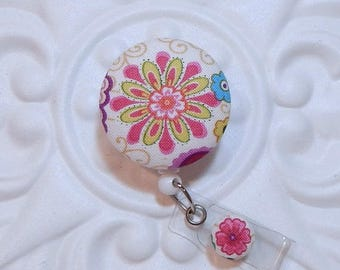 Retractable Badge Holder - Cute Badge Holder - Badge Lanyard - Badge Reel - Nurse Badge Holder - Flower