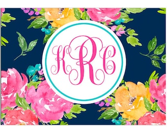 Personalized Monogram Notecards Printable or Printed with FREE SHipping - Personalized Stationary - Navy Floral Collection