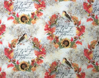 Susan Winget Fabric, Fall Fabric, By The Yard, Bird Fabric, Autumn Fabric, Sing A Song Collection, Quilting Fabric, Sewing Crafting Fabric