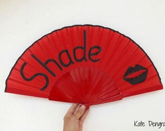 Lipstick Kiss Shade Red SIZE OPTIONS Hand Fan Folding Wooden Handheld Red and Black with a Large Lipstick Lip Kiss Print Painted