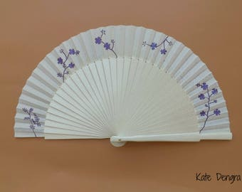 Fairytale Bridal Wedding Hand Fan - Purple Floral Cream with Silver Overlay and Irridescent Glitter Varnish - Bridesmaid