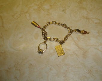 vintage bracelet goldtone chain girlie charms lipstick shoe ring avon