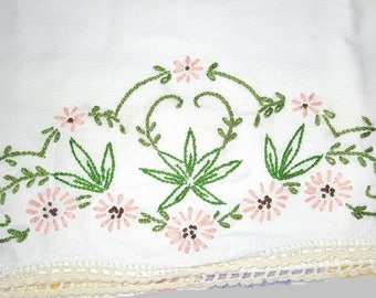 Vintage 1950s Hand Embroidered Cotton Pillow Case, Pink Flowers, Hemp Leaf Leaves with Hand Crochet Thread Lace Trim Crocheted Edging, Clean