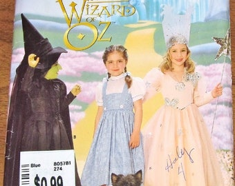 Costume Sewing Pattern Simplicity 7801 0631 Girls Wizard of Oz Dorothy Witch Size 3 4 5 6 7 8 Chest 22 23 24 25 26 27 Uncut Factory Folds