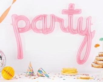 PARTY script- PINK Mylar Balloons {Party- Celebration Decor}
