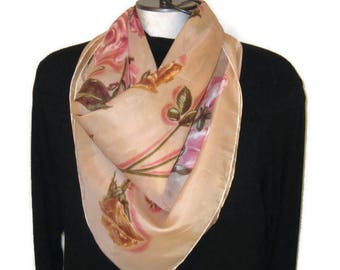 60s Large Square Scarf Cabbage Rose Scarf Vintage 1960s Scarf Roses Print Scarf Large Neckerchief Pink Tan Scarf Floral Scarf Floral Print