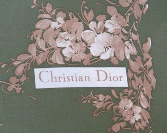 Signed Christian Dior Scarf Moss Green Silk Taupe Floral Design 29 by 30 Inches 947b