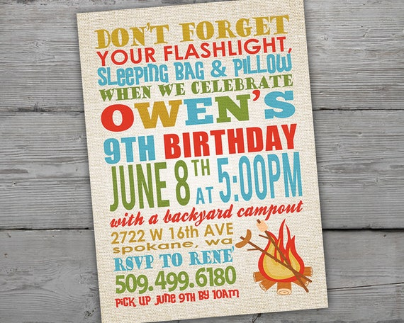 Camping Invitation Camping Invitations Campout Party Campout