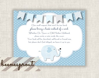 Book Instead of Card Instant Download Insert Blue Elephant Boy