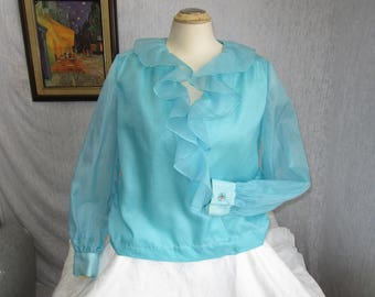 60s 1X 18 Organza Ruffled Blouse Shimmering Turquoise