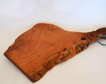 "Mesquite Cutting-Serving Board; 8""x15""; Food Safe Finish;Natural Holes and Live Edge; Leather Cord for Easy Hanging;Free Ground Shipping USA"