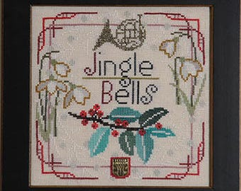 NEW Christmas Carol Jingle Bells cross stitch patterns INCLUDES embellishment by Tellin Emblem at thecottageneedle.com french horn
