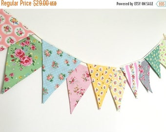 ON SALE Shabby Chic Fabric Banners, Bunting, Garland, Wedding Bunting,  Flags - 3 yards (10th version)