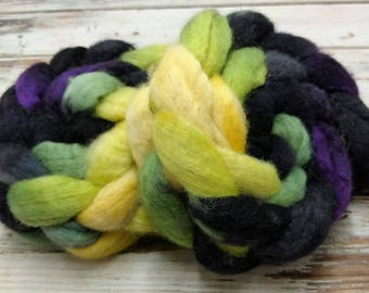Maleficent 4oz BFL Blue Faced Leicester Wool Spinning Fiber Combed Top Roving Black Purple Green Yellow Villain