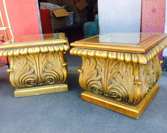 Super Stunning Pair Original Circa 60s Gold Gilt Decorator Wood, Gesso, Glass Side Tables With Drop Shadow Box