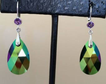 New Swarovski Scarabourough Green crystal with Sterling Amethyst Bezel Earring, prom, formal, bridesmaid jewelry, gift for her, dangle, drop