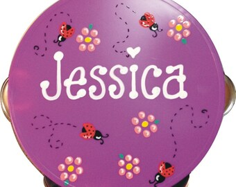 Personalized Ladybugs Tambourine - Personalized and Gift Wrapped - SALE - 5 Inch Tambourine Violet with Ladybug Design