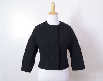 Vintage 50s Black Wool Cropped Jacket