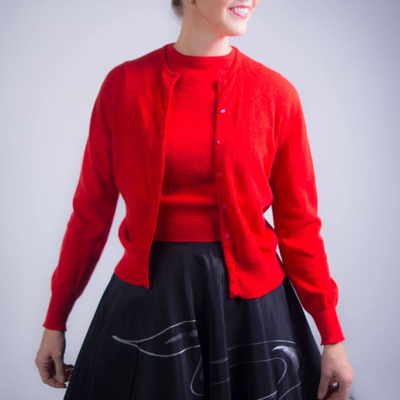 1950's Cherry Red Catalina Cashmere Sweater Set 50's
