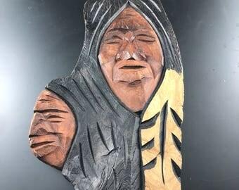 BC First Nations Wood Carving  |  Wanik Canada 1993  | Northwest Coast Indian Art  |  Aboriginal bark carving No.200