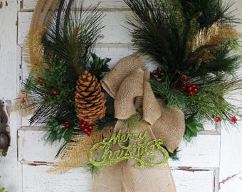 Glitter and Grit, Western Rope Christmas Wreath, rustic Christmas wreath, country, lasso wreath, cowboy, farmhouse Christmas, holiday decor