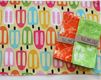 Placemat and Napkin Set for Kids  - Tie Dye Napkin (choose Green or Orange) with a Popsicle Placemat