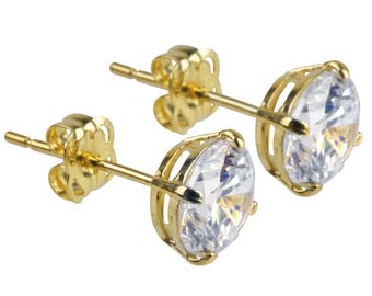 9ct Yellow Cubic Zirconia stud earrings, 9 carat gold crystal studs,  gold claw set studs, 5mm gold studs, 6mm gold studs, 7mm gold studs,