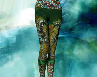 Yoga Leggings & Capris - Green Horse Rises from the Earth and Merges with the Wind Batik