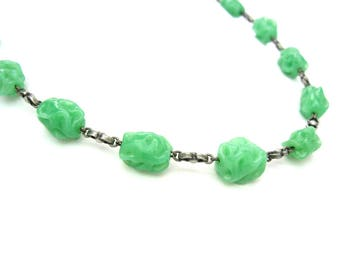 Glass Bead Necklace. Green Jade Choker. 800 Silver Links. Lampwork Beads. Vintage 1930s Art Deco Beaded Jewelry