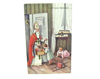 Christmas Postcard. Bishop St. Nicholas & Gifts Greeting Card. Patron Saint of Children. German Religious Antique 1910s Paper Collectible
