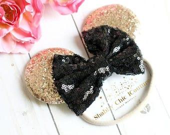 Minnie Mouse Headband, Disney Headband, Black and Gold, Gold Minnie Mouse, Black and Gold Headband, Minnie Mouse Ears, Sequins Bow, Ears