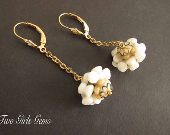 Vintage earrings, Vintage Czech beads, white and gold, repurposed vintage bead, 14k gold fill lever back, Two Girls Gems